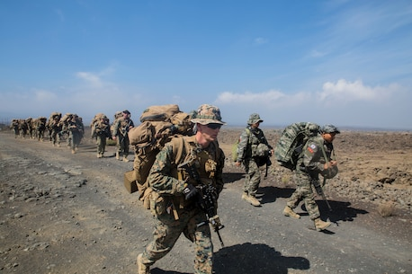ROK and U.S. Marines hike on Island of Hawaii during RIMPAC