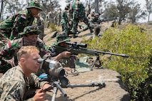 Indonesian and U.S. Marine snipers hit the range during RIMPAC