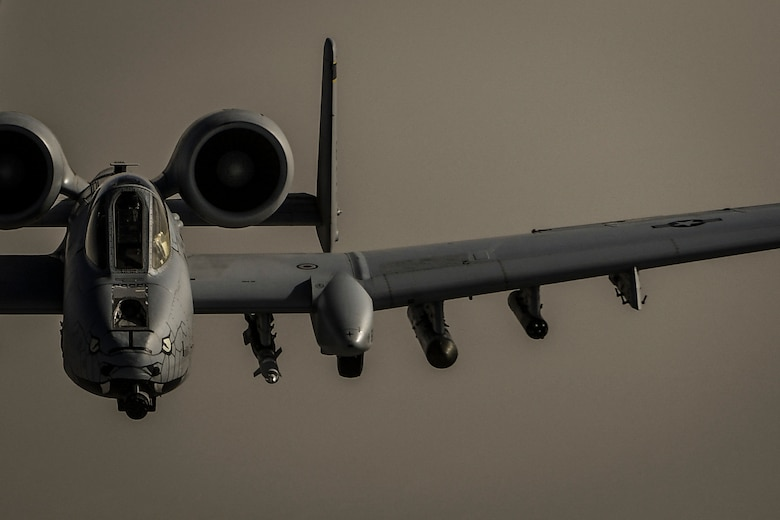 A U.S. Air Force A-10 Thunderbolt II assigned to the 163rd Fighter Squadron flies a mission over Afghanistan, May 28, 2018. The aircraft arrived at Kandahar Airfield in January 2018, in support of the Resolute Support mission and Operation Freedom's Sentinel. (U.S. Air Force Photo by Staff Sgt. Corey Hook)