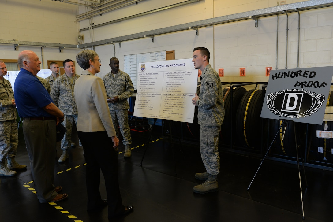 Secretary of the Air Force Heather Wilson speaks with Airmen from the 100th Maintenance Squadron about the new innovation used for maintaining the KC-135 Stratotankers assigned to RAF Mildenhall, England, July 12, 2018. Secretary Wilson visited RAF Mildenhall to engage with Airmen from the 100th ARW and discuss innovations and strategy. (U.S. Air Force photo by Airman 1st Class Alexandria Lee)