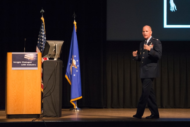 Air Force Vice Chief of Staff Gen. Stephen W. Wilson addresses a crowd during the Wright Dialogue with Industry event in Dayton, Ohio, July 18, 2018.