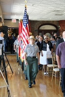 New England District color guard march into NAD change-of-command ceremony