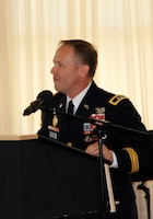 Maj. Gen. Milhorn speaks at change-of-command ceremony