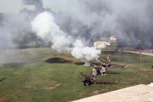 Change-of-command artillery salute battery fires