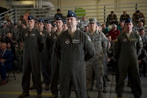 Lt. Col. Ryan Sullivan, 14th Operations Group deputy commander, stands at ease in front of a formation of Airmen for the 14th OG Change of Command July 10, 2018, on Columbus Air Force Base, Mississippi. The formal Change of Command ceremony afforded the troops the opportunity to witness the proceedings and actually see their new commander. (U.S. Air Force photo by Airman 1st Class Keith Holcomb)