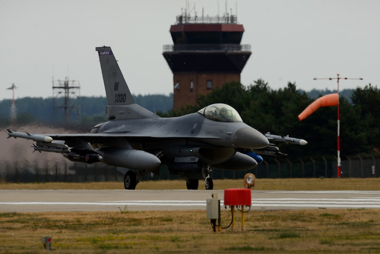 An F-16 Fighting Falcon from the 31st Fighter Wing, 510th Fighter Squadron, Aviano Air Base, Italy, lands at Royal Air Force Lakenheath, England, July 20, 2018. The 510th FS is participating in a bilateral training event to enhance interoperability, maintain joint readiness and reassure our regional allies and partners. (U.S. Air Force photo by Tech. Sgt. Matthew Plew)