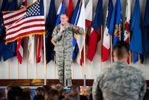Chief of Staff of the Air Force Gen. David L. Goldfein addresses Airmen