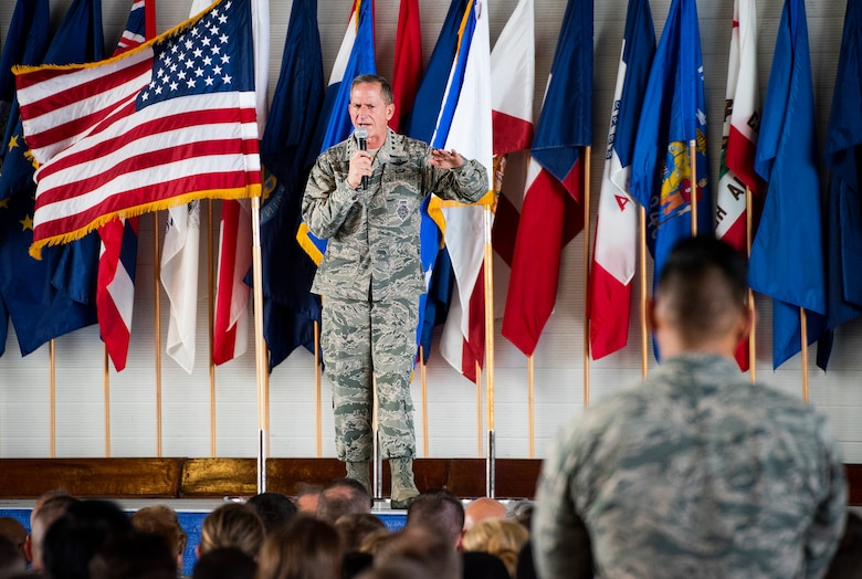 Chief of Staff of the Air Force Gen. David L. Goldfein addresses Airmen
