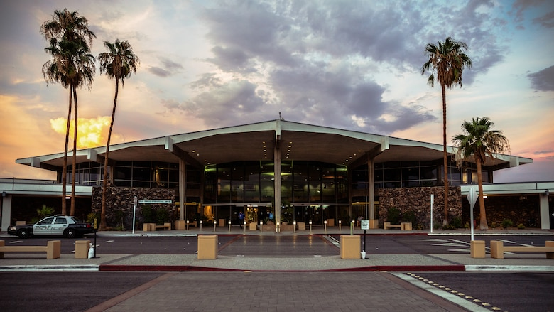 Palm Springs International Airport hosts thousands of commercial flights a year, which demands trained personnel to be prepared in the event of any kind of disruption or disturbance to travellers, making it an ideal destination for Operation Bono, a Transportation Security Administration training exercise, that took place July 12th and 13th, 2018. The purpose of Operation Bono is to provide unique training opportunities for federal, state, and local public safety bomb squads and military explosive ordnance disposal teams, as well as facilitates training and drills designed for bomb squads to employ their tactics while operating in the aviation domain in, and around PSP airport. (U.S. Marine Corps photo by Lance Cpl. Rachel K. Porter)