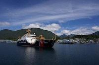 Coast Guard Cutter Kukui (WLB 203), a sea-going buoy tender, arrives in Sitka, Alaska, July 13, 2018, after circumnavigating North America following a year-long overhaul at Coast Guard Yard. U.S. Coast Guard photo by Petty Officer 2nd Class Derek Mazur.