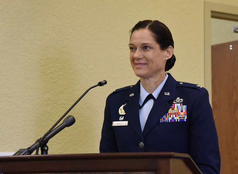 U.S. Air Force Col. Marcia Quigley, 81st Mission Support Group commander, delivers remarks during the 81st MSG change of command ceremony in the Bay Breeze Event Center at Keesler Air Force Base, Mississippi, July 19, 2018. Quigley assumed command from Col. Danny Davis, outgoing 81st MSG commander. (U.S. Air Force photo by Kemberly Groue)