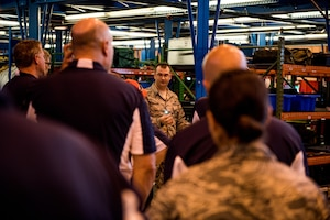 Team Dover honorary commanders visit the Consolidated Tool Kit at Dover Air Force Base, Del., July 19, 2018. Honorary commanders learned about the measures Team Dovers' maintainers implement to maintain accountability of tools and aircraft parts. (U.S. Air Force photo by Staff Sgt. Damien Taylor)