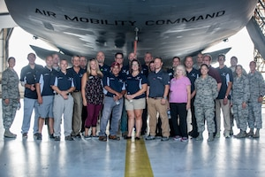 Team Dover service members and honorary commanders pose for a group photo at Dover Air Force Base, Del., July 19, 2018. The Honorary Commander Program fosters a bond between civic leaders and the U.S. Air Force and engages, educates and empowers community leaders to advocate for Airmen and their families. (U.S. Air Force photo by Staff Sgt. Damien Taylor)