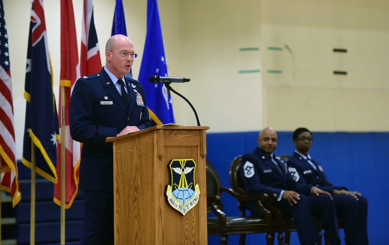 Col. Troy L. Endicott, 460th Space Wing commander, reflects on the early career of his former and current command chief and how their career developed to make them the leaders they are today during a change of responsibility ceremony on Buckley Air Force Base, Colorado, July 20, 2018.