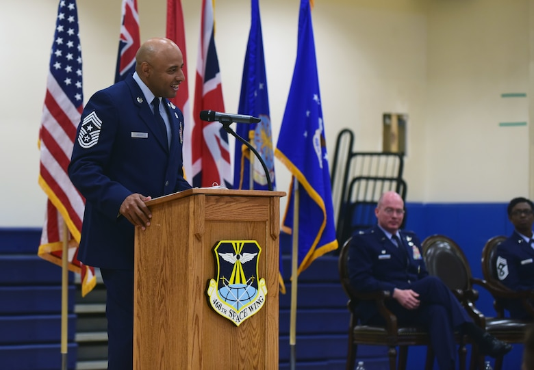 Chief Master Sgt. Rod Lindsey, 460th Space Wing outgoing command chief, shares his gratitude to members of Team Buckley during a change of responsibility ceremony on Buckley Air Force Base, Colorado, July 20, 2018.