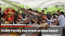 U.S. Marines with Headquarters Battalion (HQBN) attended a Family Day event at the Hale Koa Beach, Marine Corps Base Hawaii, July 20, 2018. The event promoted HQBN comradery and positive relationships among the service members and their families. (U.S. Marine Corps photo by Sgt. Jesus Sepulveda Torres)