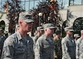 Staff Sgt. Michael McMillen, 90th Force Support Squadron fitness assessment cell manager, calls cadence for a flight of approximately 150 Airmen during the Grand Parade in Cheyenne, Wyo., July 21, 2018. The Grand Parade is part of the official kick-of event starting Cheyenne Frontier Days, the Daddy of 'em All. The F.E. Warren Air Force Base and Cheyenne communities came together to celebrate the CFD rodeo and festival, which runs from July 20-29. (U.S. Air Force photo by Airman 1st Class Braydon Williams)