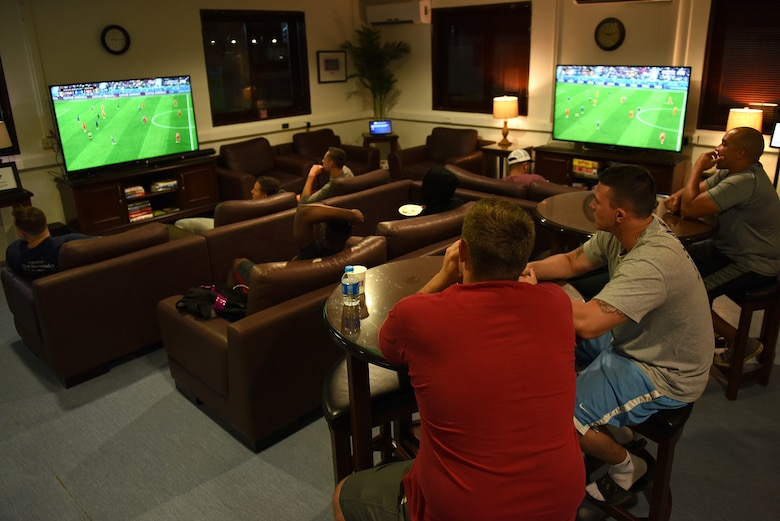 Service members watch the 2018 FIFA World Cup at the USO at Incirlik Air Base, Turkey, July 10, 2018.