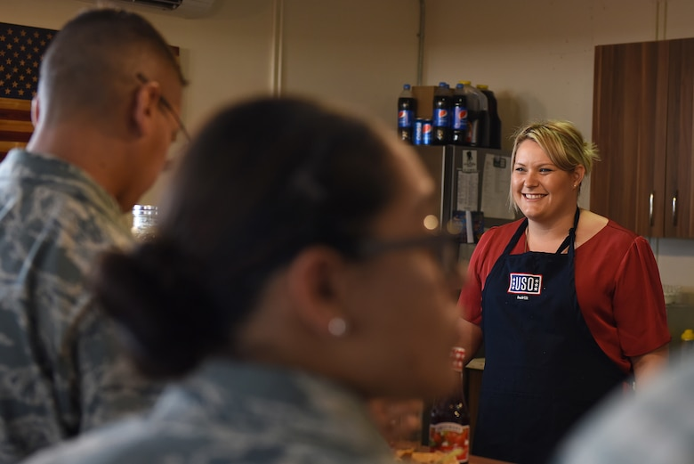 U.S. Air Force Airmen attend the weekly Waffle Wednesday at the USO at Incirlik Air Base, Turkey, July 11, 2018.