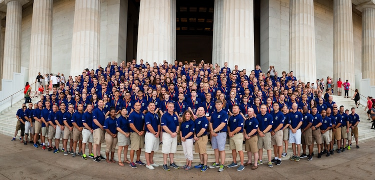 Marines and students with the Summer Leadership and Character Development Academy pose for a group photo in front of the Lincoln Memorial in the District of Columbia, July 17, 2018. Students accepted into the academy were hand-selected by a board of Marines who look to find attendees with similar character traits as Marines. Inspired by the Marine Corps' third promise of developing quality citizens, the program was designed to challenge and develop the nation's top-performing high school students so they could return to their communities more confident, selfless and better equipped to improve the lives of those around them. (U.S. Marine Corps photo by Staff Sgt. John A. Martinez Jr.)