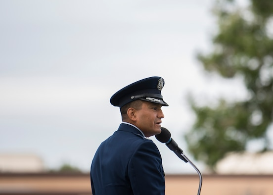 U.S. Air Force Col. Juan Alvarez, 377th Mission Support Group commander, speaks at his change of command ceremony on Kirtland Air Force Base, N.M., July 12. His primary objective as MSG group commander is to highlest the hard work and purpose of MSG Airmen. (U.S. Air Force photy by Staff Sgt. J.D. Strong II)