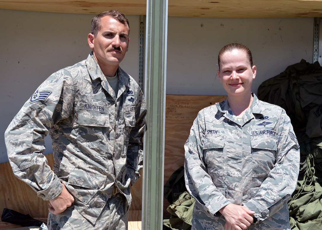 U.S. Air Force Staff Sgt. Justen Knighten and Staff Sgt. Jessica Smith, 86th Logistics Readiness Squadron aerial delivery supervisors, pose for a photo in Plovdiv, Bulgaria, July 19, 2018. Knighten and Smith supported Thracian Summer 18 by configuring pallets to be used in airdrop training missions to maintain qualifications for 37th Airlift Squadron aircrew members. Thracian Summer is a bilateral exercise between the U.S. and Bulgaria. (U.S. Air Force photo by Staff Sgt. Jimmie D. Pike)