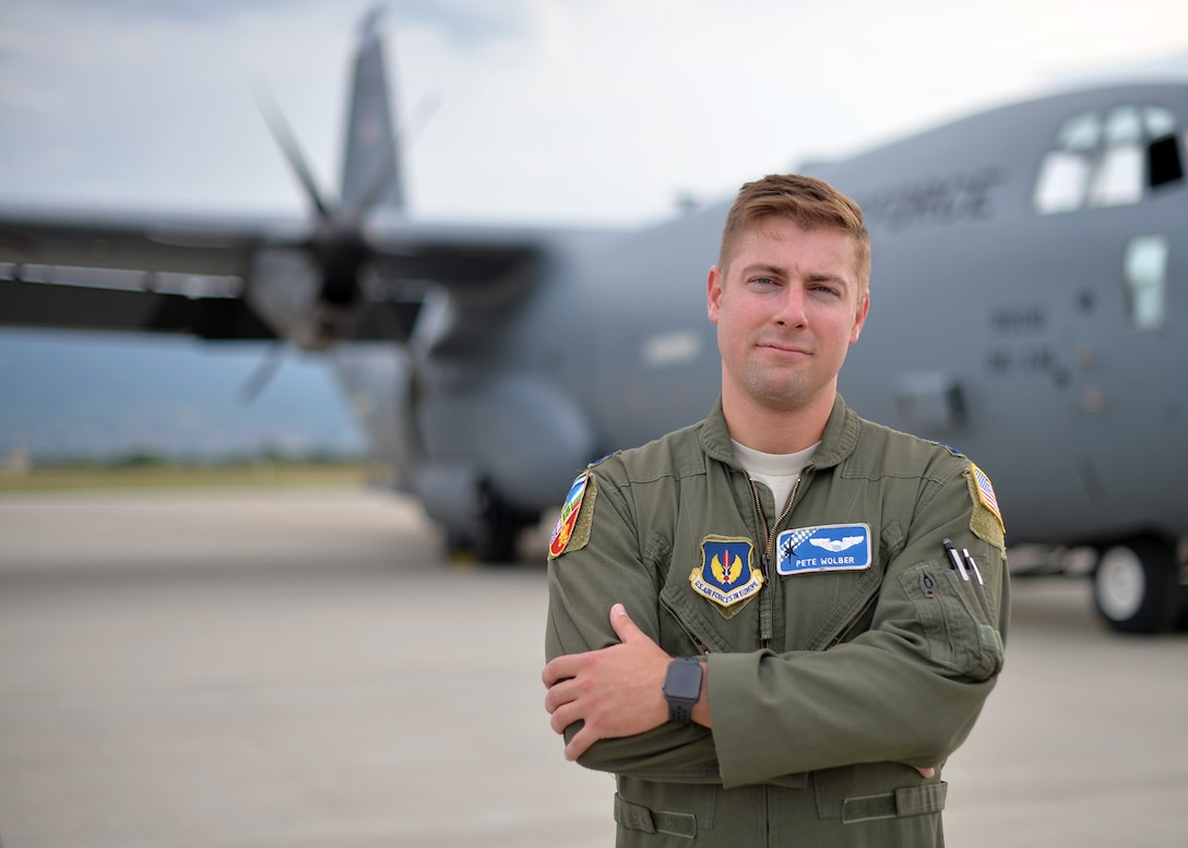 U.S. Air Force Capt. Peter Wolber, 37th Airlift Squadron chief of scheduling, poses for a photo in Plovdiv, Bulgaria, July 20, 2018. While participating in Thracian Summer 18, a bilateral exercise between the U.S. and Bulgaria, Wolber oversaw operations as mission commander. During the exercise, Wolber maintained and exercised oversight on support and operations during Thracian Summer to ensure objectives were met. (U.S. Air Force photo by Staff Sgt. Jimmie D. Pike)