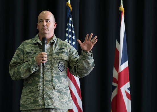 U.S. Air Force Col. William Marshall, 48th Fighter Wing commander, speaks to Liberty Wing Airmen during an All Call at Royal Air Force Lakenheath, England, July 20, 2018. Marshall assumed command of the 48th FW July 16, 2018. (U.S. Air Force photo/ Senior Airman Malcolm Mayfield)