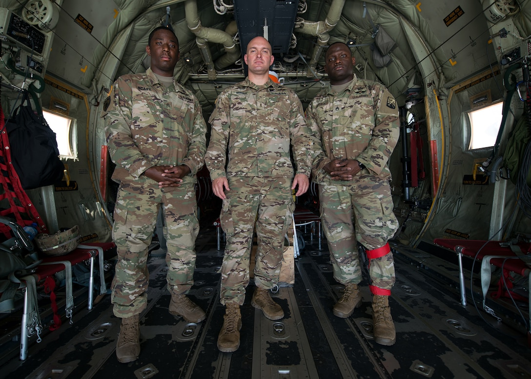 From left to right, U.S. Army Sgt. Kwame Scaife, Chief Warrant Officer 2 David Minnis, and Staff Sgt. Michael Bethea, 5th Quartermaster Theater Aerial Delivery Company jumpmasters, pose for a photo in Plovdiv, Bulgaria, July 14, 2018. The group deployed with the 37th Airlift Squadron in support of Thracian Summer 18, a bilateral exercise between the U.S. and Bulgaria. During the exercise the team provided safety oversight and assistance to jumpers from Bulgaria's 68th Special Forces Brigade. (U.S. Air Force photo by Airman 1st Class Noah Coger)