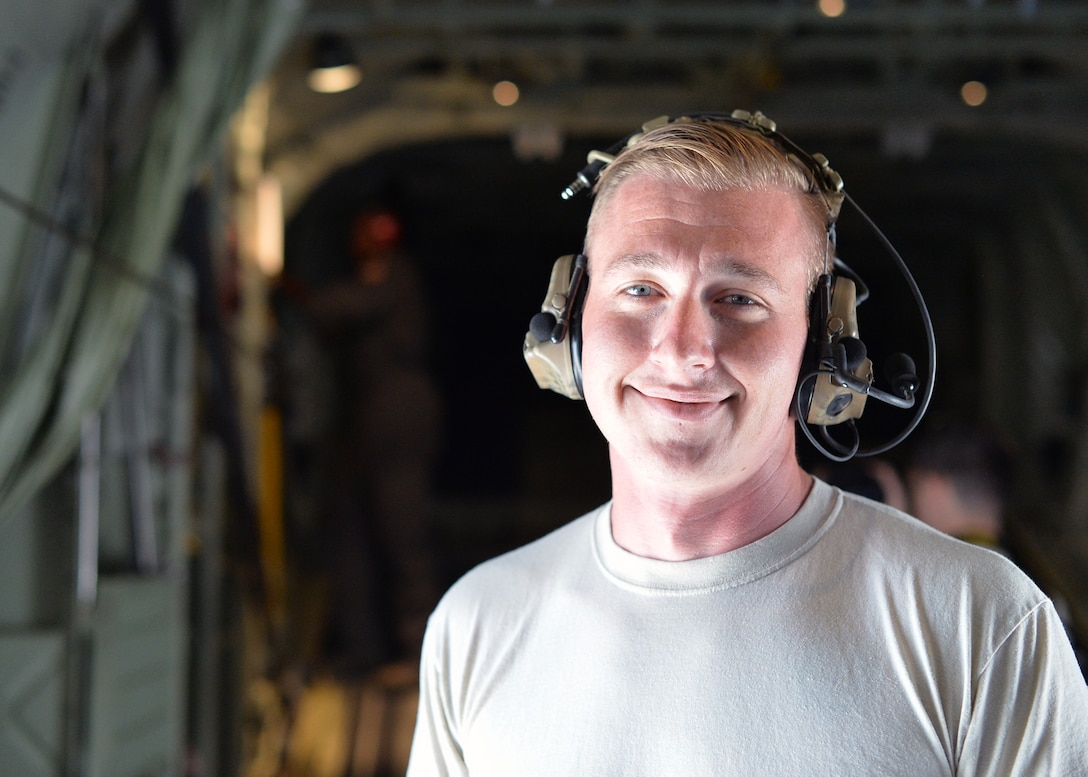 U.S. Air Force Staff Sgt. Anthony Macy, 86th Aircraft Maintenance Squadron C-130J Super Hercules crew chief, poses for a photo in Plovdiv, Bulgaria, July 18, 2018. Members of the 86th AMXS deployed to Bulgaria with the 37th Airlift Squadron for Thracian Summer 2018, a bilateral exercise between the U.S. and Bulgaria. The role of Macy and other members of the 86th AMXS was to maintain aircraft operability to ensure the proper training for members of the 37th AS to complete tier-1 objectives and certifications for aircrew. (U.S. Air Force photo by Staff Sgt. Jimmie D. Pike)