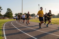 Marine Sgt. Maj. Paul McKenna, Command Senior Enlisted Leader, North American Aerospace Defense Command (NORAD) and United States Northern Command (NORTHCOM), joined members of Joint Task Force Civil Support (JTF-CS) July 13 for a Marine-run physical training session. McKenna visited JTF-CS for a tour of the headquarters of the nation's only standing chemical, biological, radiological or nuclear response force. When directed, JTF-CS is ready to respond in 24 hours to provide command and control of 5,200 federal military forces located at more than 36 locations throughout the nation acting in support of civil authority response operations to save lives, prevent further injury, and provide critical support to enable community recover. (Official DoD photo by Mass Communication Specialist 3rd Class Michael Redd/released)