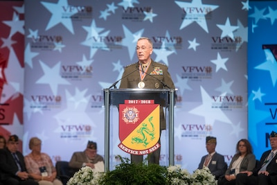 Marine Corps Gen. Joe Dunford, chairman of the Joint Chiefs of Staff, addresses thousands of VFW and Auxiliary members at the at the Bartle Hall Kansas City Convention Center.