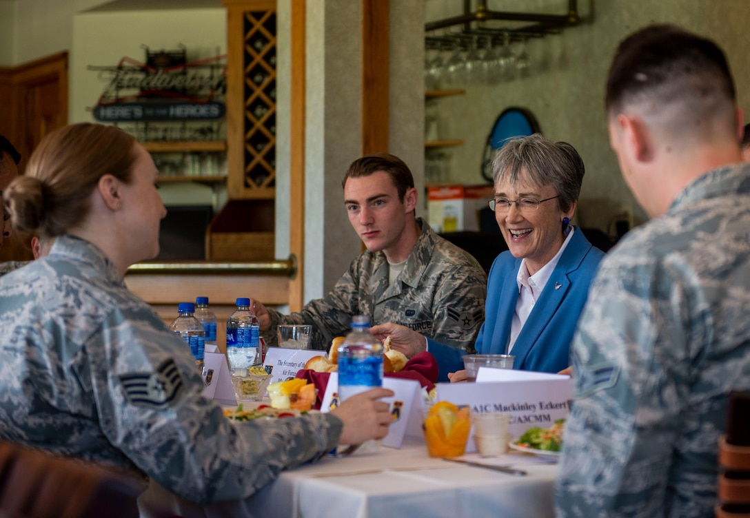 SECAF eats with Airmen