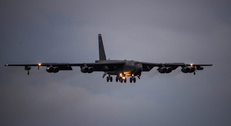 A U.S. Air Force B-52 Stratofortress lands at Andersen Air Force Base, Guam, after returning from a mission in support of Exercise Pitch Black 2016 (PB16) in Australia, Aug.18, 2016.  PB16 allows participant nations to exercise deployed units in the tasking, planning and execution of offensive counter air and offensive air support while utilizing one of the largest training airspace areas in the world.  (U.S. Air Force photo by Tech. Sgt. Richard P. Ebensberger)