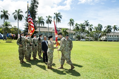 Honolulu District U.S. Army Corps of Engineers Lt. Col. Kathryn P. Sanborn assumed command from Lt. Col. James D. Hoyman during the change of command ceremony July 20, 2018 at Fort Shafter's Palm Circle. Sanborn, the first female commander of Honolulu District (which was established in April 1905), will lead an organization of more than 300 engineers, scientists and support staff serving the Pacific Region. For Hoyman's outstanding work and contributions, while commanding the Honolulu District, Hoyman received the Meritorious Service Medal and goes on to serve in Pacific Command's Logistics, Engineering, and Security Cooperation Directorate (J-44).