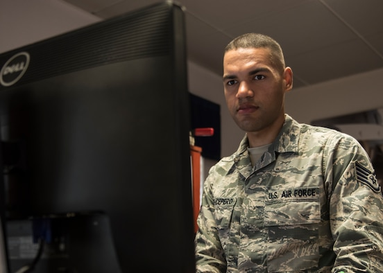 INCIRLIK AIR BASE, Turkey – U.S. Air Force Staff Sgt. Bryant Lopez-Cepero, 728th Air Mobility Squadron unit training manager, works at his computer at Incirlik Air Base, Turkey, July 5, 2018.