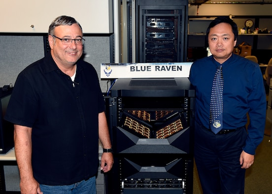 Left to right – Mark Barnell, program manager of the Blue Raven project for AFRL, and Dr. Qing Wu, principal computer scientist for the project. Together, they manage the business and engineering aspects of the effort. (Courtesy photo)