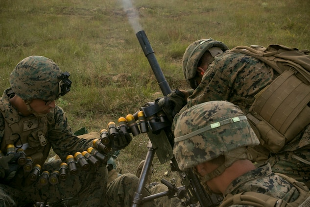 U.S. Marines with Black Sea Rotational Force 18.1 conduct high-angle fire training with a Mark 19 40mm grenade launcher during a deployment for training exercise at Novo Selo Training Area, Bulgaria, July 4, 2018. Marines with Weapons Company, 1st Battalion, 6th Marine Regiment conducted five days of live-fire ranges, enhancing their operational capabilities. (U.S. Marine Corps photo by Cpl. Abrey Liggins/Released)