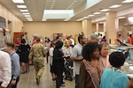 Employees attend Center Restaurant soft opening July 23, 2018.