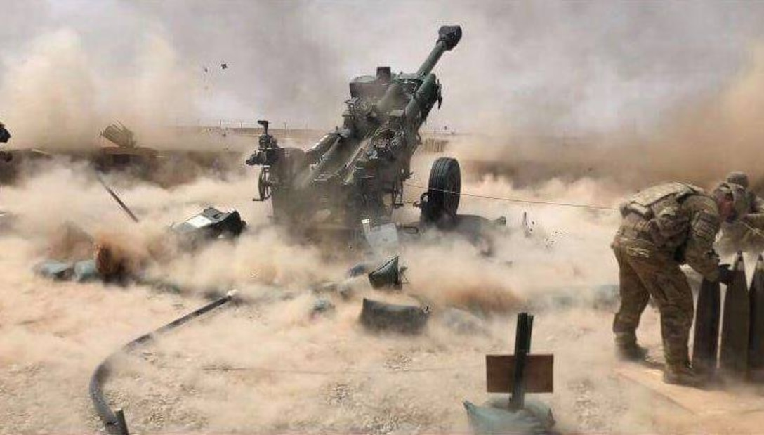 2nd Battalion, 12th Field Artillery Regiment, Alpha Battery, 2nd Platoon fires artillery in Afghanistan in support of Operation Freedom Sentinel, July 23 2018.  U.S. Army photo by Sgt. Elliot Hughes