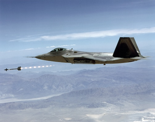 "#OTD 25 Jul 2000 at Edwards - The F-22 CTF's Raptor 02 successfully launched an AIM-9 ""Sidewinder"" missile over the China Lake test range.  The test confirmed the F-22's ability to launch an air-to-air missile from an internal weapons bay. (Edwards History Office file photo)"