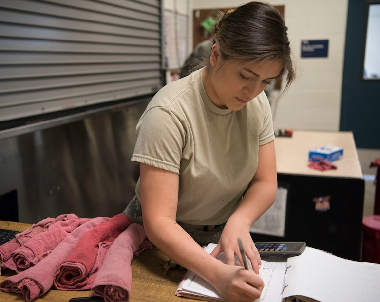 Senior Airman Isabella Ospina, a 525th Aircraft Maintenance Unit F-22 Raptor crew chief support technician, counts shop towels during a tool and equipment shift inventory at Joint Base Elmendorf-Richardson, Alaska, July 19, 2018. Ospina is responsible for the issue and control of more than 10,000 tools during one of three shift inventories.