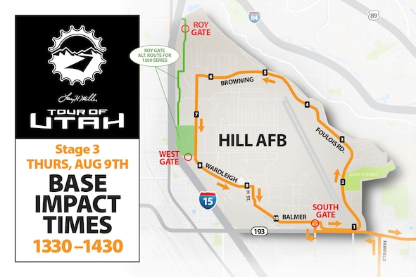 The Tour of Utah professional bicycle race is scheduled to pass through Hill Air Force Base approximately between 1:30-2:30 p.m. Aug. 9. Motorists should expect some impact to gates and traffic on- and off-base during this time period. (U.S. Air Force graphic by David Perry)