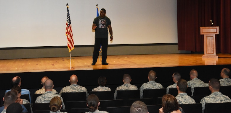 Herschel Walker shares his story about being diagnosed with Dissociative Identity Disorder and seeking help July 18, 2018, at Fairchild Air Force Base, Washington. Walker is a former National Football League player and the 1982 Heisman Trophy winner. (U.S. Air Force photo/Staff Sgt. Samantha Krolikowski)