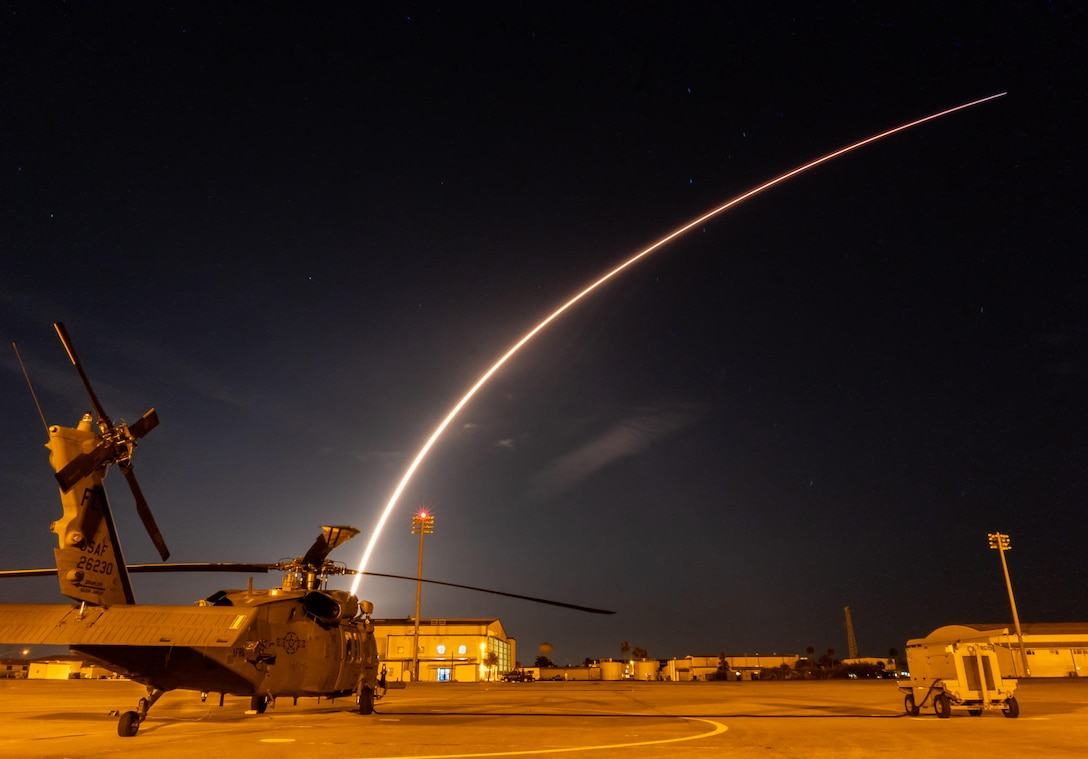 On Sunday, July 22, 2018, SpaceX, a commercial leader in aerospace, successfully launched the Telstar 19 VANTAGE satellite from Space Launch Complex 40 at Cape Canaveral Air Force Station, Florida. Prior to the launch, Reserve Citizen Airmen from the 920th Rescue Wing, Patrick Air Force Base, Florida, took off in an HH-60G Pave Hawk helicopter, to secure the Eastern Range ensuring there was no one in harm's way while the rocket lifted off. As the rocket was launching at 1:50 a.m., an additional Pave Hawk with the 920th's fleet, is shown parked on the PAFB tarmac. (U.S. Air Force photo by Staff Sgt. Wes Henry)