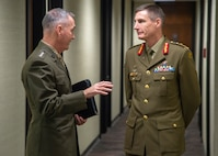 Marine Corps Gen. Joe Dunford, chairman of the Joint Chiefs of Staff, meets with Australian Army Gen. Angus Campbell, Chief of the Defence Force, dor a meeting during the Australia-United States Ministerial Consultation at the Hoover Institute at Stanford University in Palo Alto, Ca., July 23, 2018.