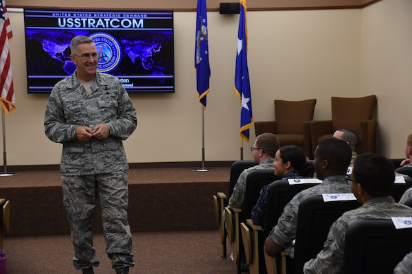 U.S. Air Force Gen. John Hyten, commander of U.S. Strategic Command (USSTRATCOM), speaks to junior-enlisted military members stationed at Offutt Air Force Base, Neb., during the inaugural Junior Enlisted Professional Development Seminar, July 19, 2018. During the seminar, junior-enlisted members discussed a variety of topics with USSTRATCOM non-commissioned officers, petty officers and senior leaders. Topics included leadership, junior-enlisted roles and responsibilities, mentoring, military traditions and history, educational benefits, and customs and courtesies. USSTRATCOM has global responsibilities assigned through the Unified Command Plan that include strategic deterrence, nuclear operations, space operations, joint electromagnetic spectrum operations, global strike, missile defense, and analysis and targeting.