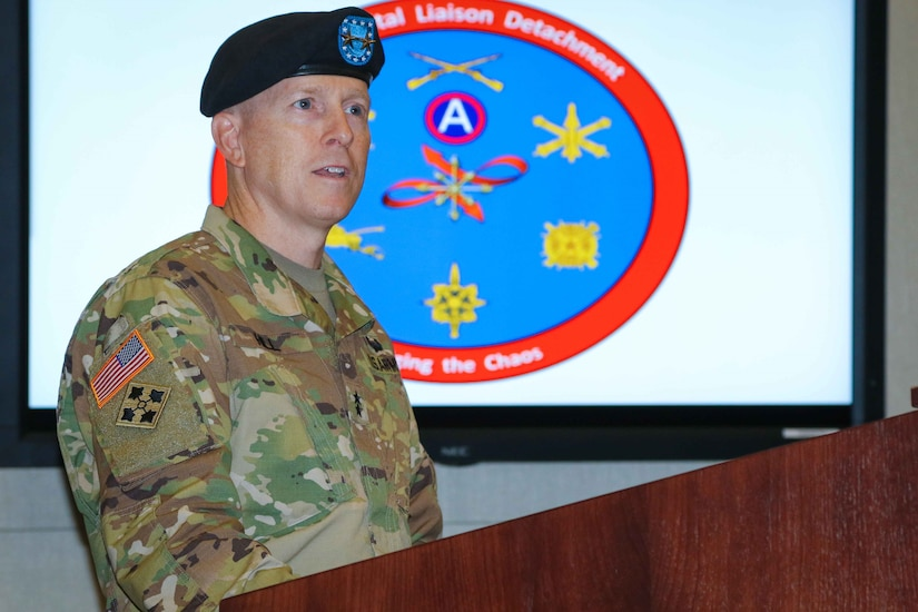 Maj. Gen. David C. Hill, deputy commanding general, U.S. Army Central, shares his remarks during a change-of-command ceremony for the 2503rd Digital Liaison Detachment, July 19, 2018, at Patton Hall on Shaw Air Force Base, S.C. (U.S. Army photo by Sgt. Von Marie Donato)