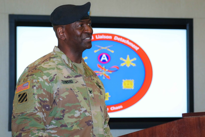 Col. Oscar W. Doward Jr., outgoing commander of the 2503rd Digital Liaison Detachment, U.S. Army Central, shares his remarks during a change-of-command ceremony July 19, 2018, at Patton Hall on Shaw Air Force Base, S.C. (U.S. Army photo by Sgt. Von Marie Donato)