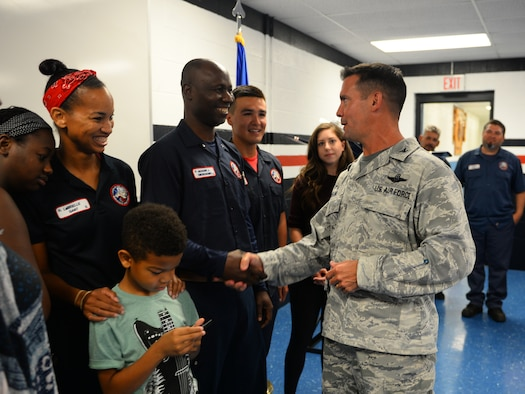 Col. Charlie Velino, 47th Flying Training Wing commander, shakes the hands of the graduates of the Air Force's Pathways Program, at Laughlin Air Force Base, Texas, July 13, 2018. Formed and designed after the GS Palace Acquire Program in 2015, representatives within Air Education and Training Command developed the service's first wage grade internship program as a way to assist in rectifying the decline in qualified aircraft maintenance personnel, noted in data collected from a 2014 career field study. (U.S. Air Force photo by Senior Airman Benjamin N. Valmoja